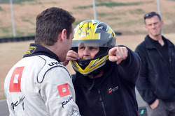 GT1 Karting in Navarra: Johnny Herbert talking to Marc Basseng