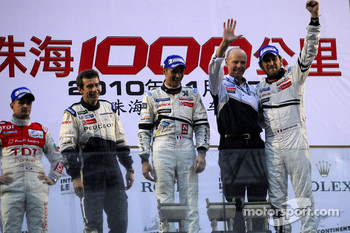 LMP1 podium: class and overall winners Stéphane Sarrazin and Franck Montagny celebrate with Olivier Quesnel and Bruno Famin