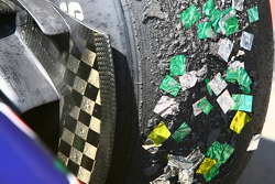 Bridgestone tyre after the podium