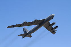 A B-52 performs a flyover