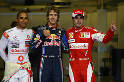 Pole winner Sebastian Vettel, Red Bull Racing, second place Lewis Hamilton, McLaren Mercedes, third place Fernando Alonso, Scuderia Ferrari