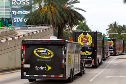 NASCAR haulers enter Miami Beach
