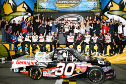 Championship victory lane: 2010 NASCAR Camping World Truck Series champion Todd Bodine celebrates