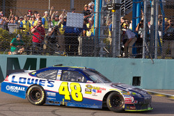 NASCAR Sprint Cup Series 2010 champion Jimmie Johnson, Hendrick Motorsports Chevrolet celebrates