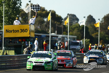 Paul Dumbrell takes his first career win for the Bottle-O Race Team