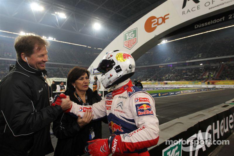 Second place Sébastien Loeb with ROC organisers Frederik Johnson and Michèle Mouton