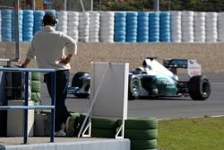 Michael Schumacher, Mercedes GP Petronas F1 wastches Nico Rosberg, Mercedes GP Petronas F1