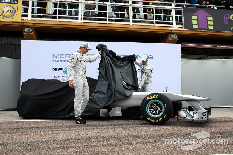 Nico Rosberg, Mercedes GP F1 Team and Michael Schumacher, Mercedes GP F1 Team unveil the new MGP W02