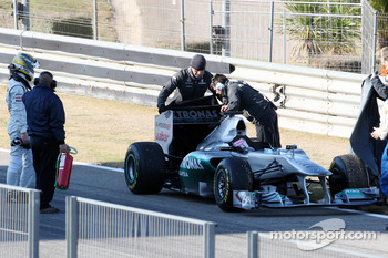 Nico Rosberg, Mercedes GP F1 Team, stops on cirucit