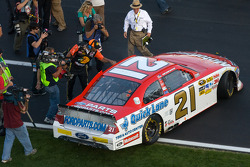 Race winner Trevor Bayne, Wood Brothers Racing Ford celebrates