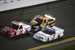 Todd Bodine, Germain Racing Toyota; Elliott Sadler, Kevin Harvick Inc Chevrolet and Brandon Gaughan, Germain Toyota