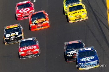 Brad Keselowski, Penske Racing Dodge leads a group of cars