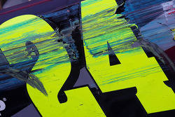 Victory lane: marks on the car of Jeff Gordon, Hendrick Motorsports Chevrolet