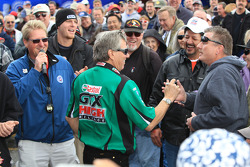 John Force greeting fans during Auto Club Fan Meeting