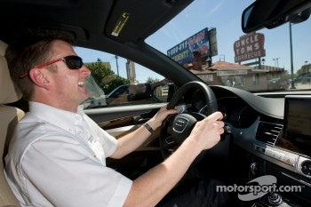 Go Green Auto Rally event in Miami: Allan McNish drives in the Go Green Auto Rally