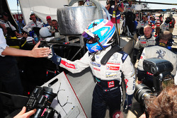 Stéphane Sarrazin celebrates the LMP1 pole