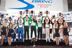 GTC podium: class winners Tim Pappas, Damien Faulkner and Sebastiaan Bleekemolen, second place Duncan Ende, Spencer Pumpelly and Alain Li, third place Henrique Cisneros, Carlos Kauffmann and Sean Edwards