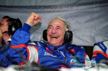 Oreca team manager Hugues de Chaunac celebrates