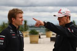 Nico Rosberg, Mercedes GP Petronas F1 Team with Michael Schumacher, Mercedes GP Petronas F1 Team