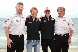 Ross Brawn, Mercedes GP Petronas F1 Team,Michael Schumacher, Mercedes GP Petronas F1 Team and Norbert Haug, Mercedes, Motorsport chief