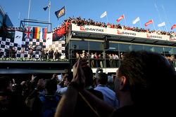 Podium: Christian Horner, Red Bull Racing, Sporting Director and Sebastian Vettel, Red Bull Racing