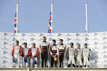 LM P2 podium: class winners Karim Ojjeh, Gary Chalandon and Tom Kimber-Smith, second place Luis Perez Companc, Mathias Russo and Pierre Kaffer, third place Nick Leventis, Danny Watts and Jonny Kane