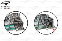 Formula 1 Foto - Mercedes W07, confronto tra la piastra terminale del GP del Canada e quella del GP della Malesia