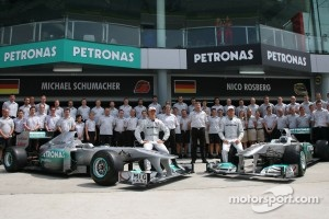 Mercedes team photo with Michael Schumacher, Mercedes GP F1 Team, Nico Rosberg, Mercedes GP F1 Team and Ross Brawn Team Principal, Mercedes GP and Norbert Haug, Mercedes, Motorsport chief
