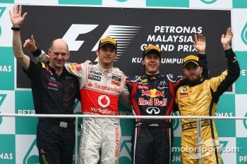 Podium: race winner Sebastian Vettel, Red Bull Racing, second place Jenson Button, McLaren Mercedes, third place Nick Heidfeld, Lotus Renault F1 Team, Adrian Newey, Red Bull Racing, Technical Operations Director