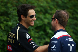 Bruno Senna, test driver, Renault F1 Team and Rubens Barrichello, Williams F1 Team