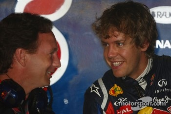 Christian Horner, Red Bull Racing, Sporting Director and Sebastian Vettel, Red Bull Racing