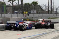 Sébastien Bourdais, Dale Coyne Racing and Marco Andretti, Andretti Autosport crash on pitlane