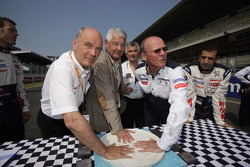 Dr. Wolfgang Ullrich, Jean-Claude Plassart and Olivier Quesnel commerate 20 years of the hand imprint ceremony