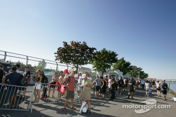 Fans wait in line at the autograph session