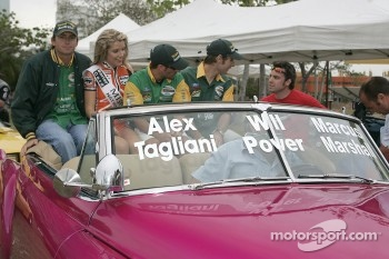 Drivers parade: Marcus Marshall, Alex Tagliani and Will Power