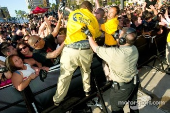 Security helps squashed fans during the Bad Religion concert