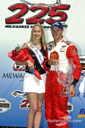 Podium: Race winner Sbastien Bourdais poses with Miss Milwaukee Mile