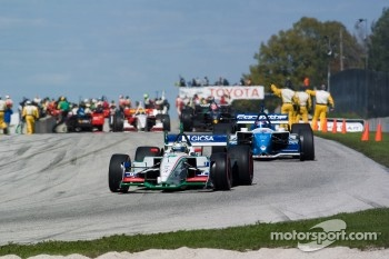 Mario Dominguez and Paul Tracy on a pace lap