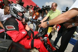 End of the go-kart run for Roger Clemens