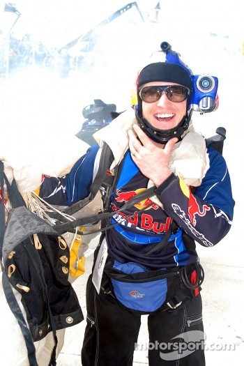 Red Bull skydiver celebrates landing