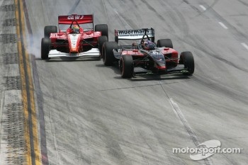 Robert Doornbos and Justin Wilson battle
