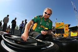Team Australia crew member prepares wheels