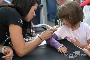 Danica Patrick and a fan