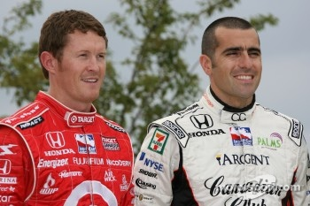 IndyCar Series 2007 Championship contenders Scott Dixon and Dario Franchitti pose during a photo shoot on Navy Pier in Chicago