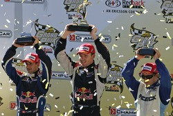 Podium: race winner Robert Doornbos with Neel Jani and Oriol Servia