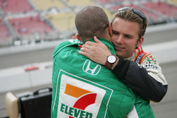 2005 IRL champion Dan Wheldon celebrates with Tony Kanaan