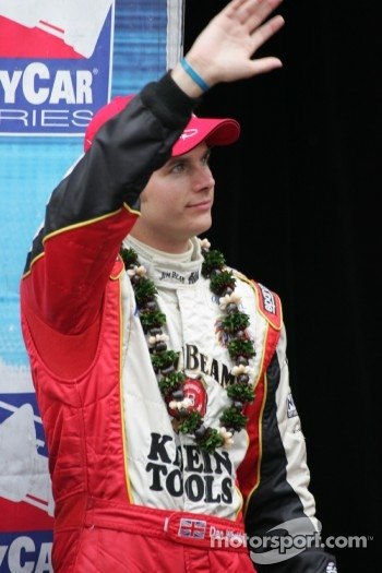 2005 IRL champion Dan Wheldon celebrates