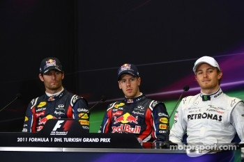 Mark Webber, Red Bull Racing with Sebastian Vettel, Red Bull Racing and Nico Rosberg, Mercedes GP F1 Team