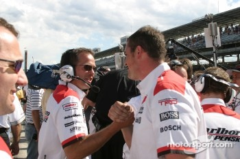 Team Penske crew members celebrate win at Pitstop challenge