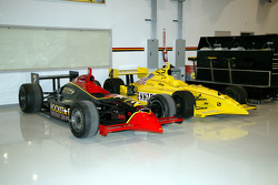 IndyCar Series cars driven by Tomas Enge, left, and Tomas Scheckter